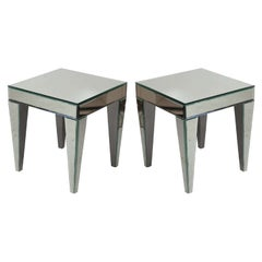 Superb Pair of Beveled Mirrored Side Tables