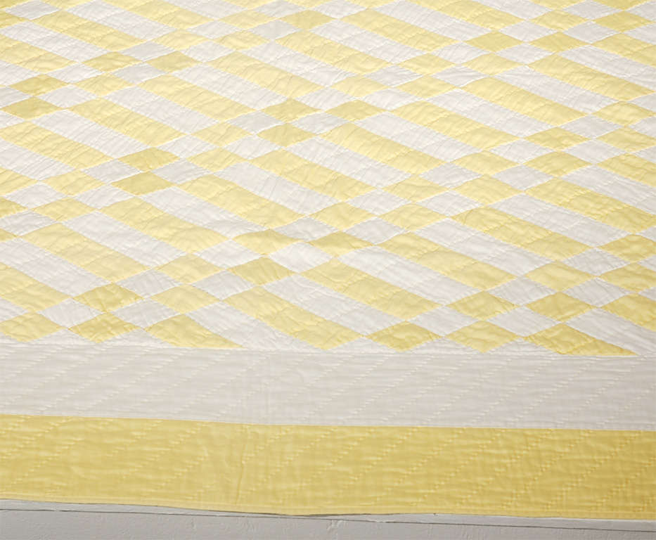 1930's Yellow & White Polished Cotton Geometric Quilt image 2