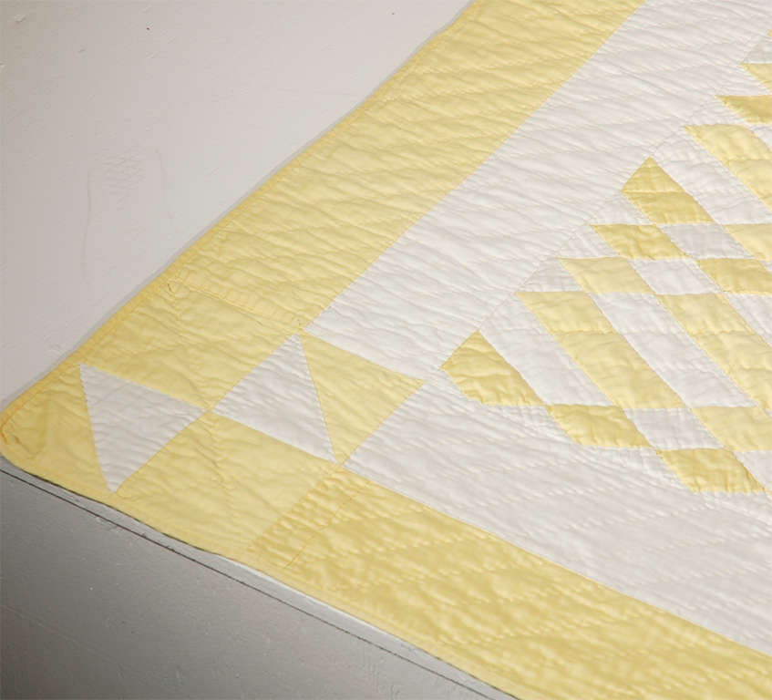 1930's Yellow & White Polished Cotton Geometric Quilt image 3