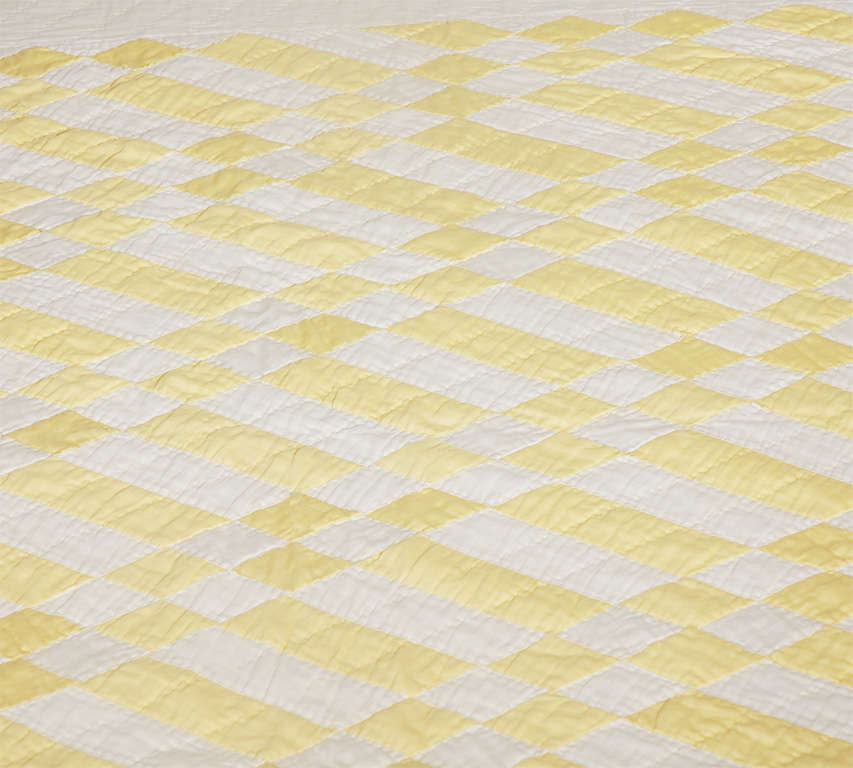 1930's Yellow & White Polished Cotton Geometric Quilt image 4