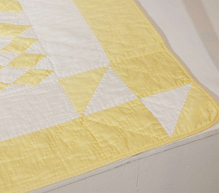 1930's Yellow & White Polished Cotton Geometric Quilt image 6