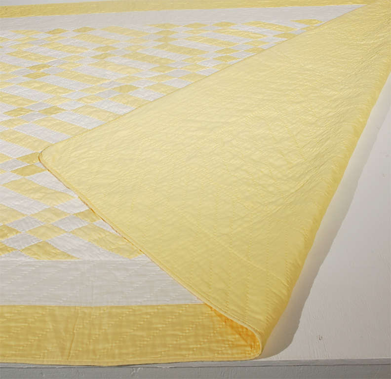 1930's Yellow & White Polished Cotton Geometric Quilt image 7