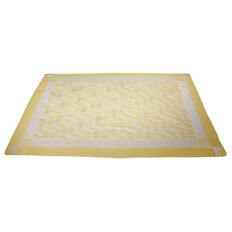 1930's Yellow & White Polished Cotton Geometric Quilt