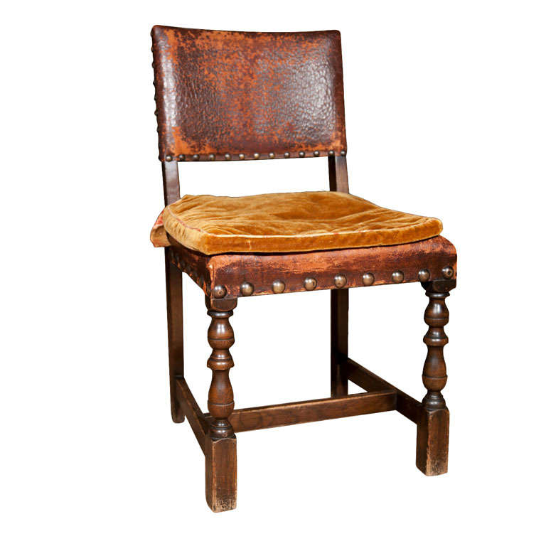 set of 6 spanish oak and leather dining chairs at 1stdibs