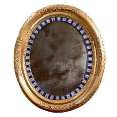 19th Century Giltwood and Cut-Glass Oval Mirror