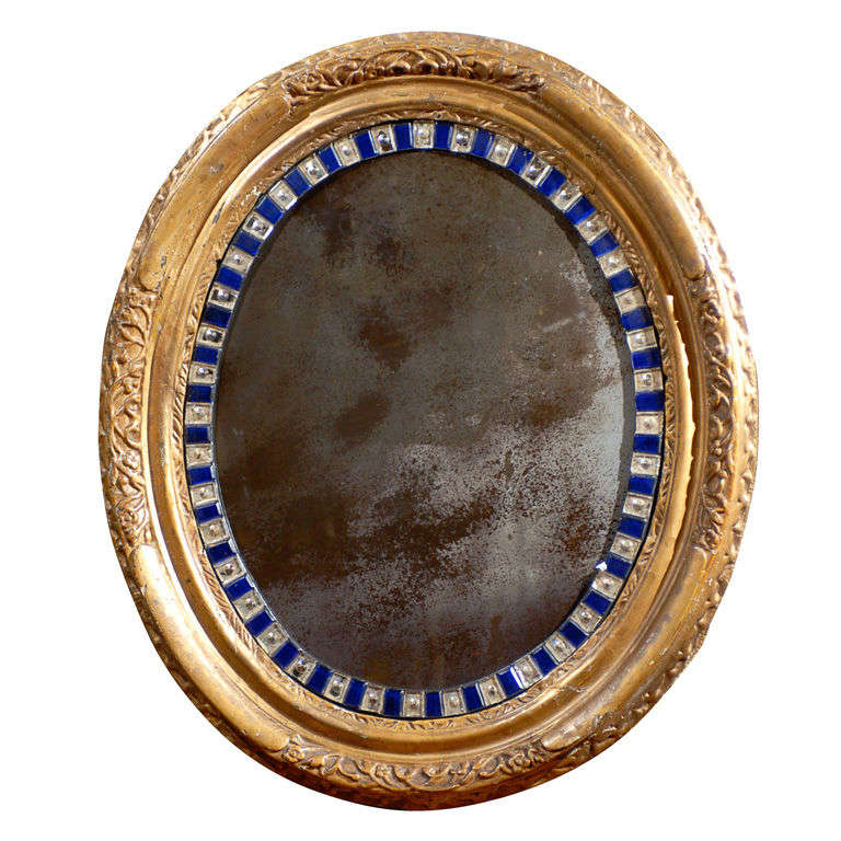 Oval 19th Century Irish Mirror with Giltwood Frame and Blue Cut Glass Accents