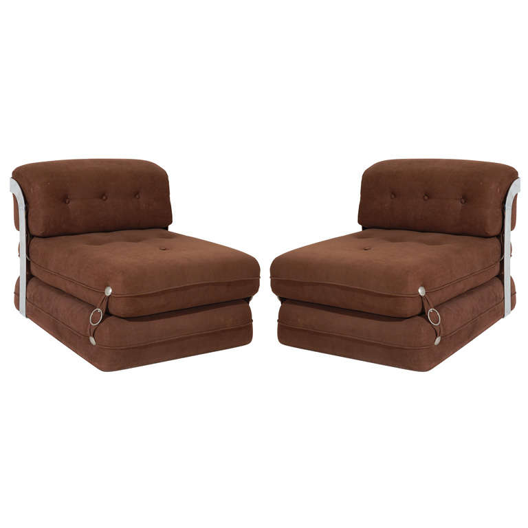 pair of italian convertible lounge chairs at 1stdibs