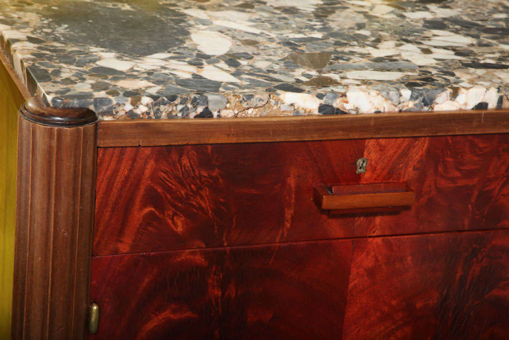 French Art Deco Credenza, Tuscan Marbletop, Macassar Veneer Palm Mahogany Sides For Sale 5