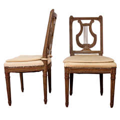 19th-Century Lyre-Back Swedish Side Chairs, Pair
