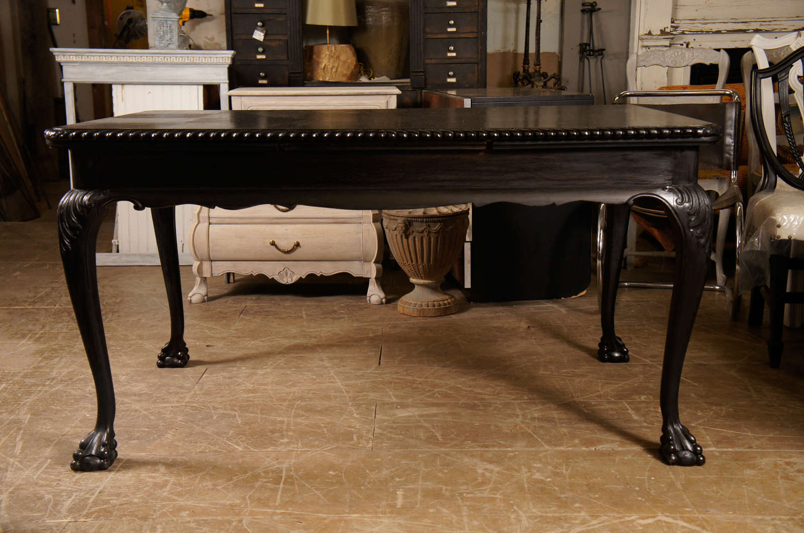 Parquet top extending dining table at 1stdibs for Best extendable dining table
