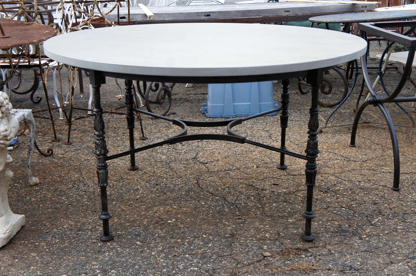 Attrayant Wonderful Iron Base Table With Stone Top. Can Be Used Indoor Or Outdoors.  Perfect