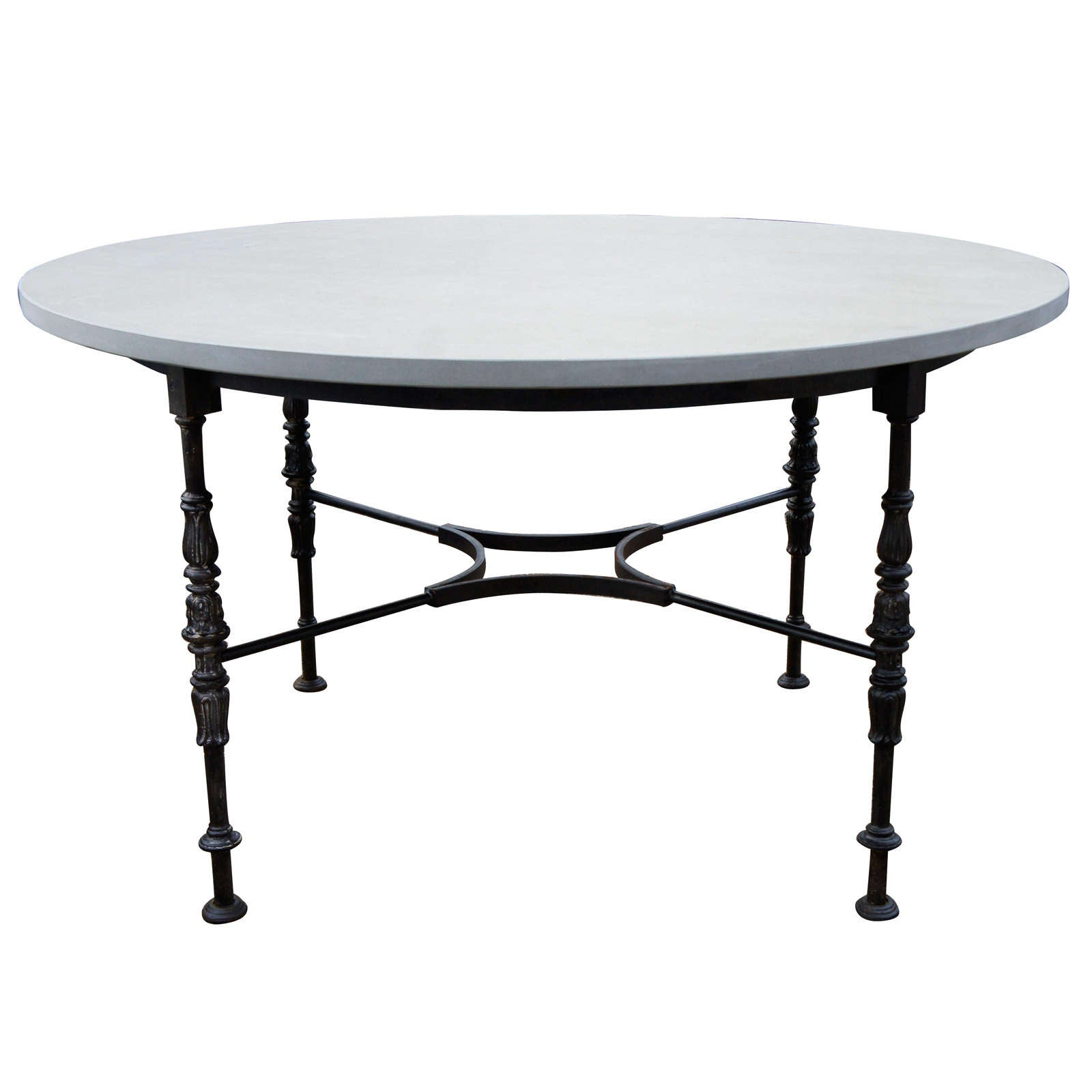 Round metal garden table with stone top at 1stdibs for Round stone top dining table