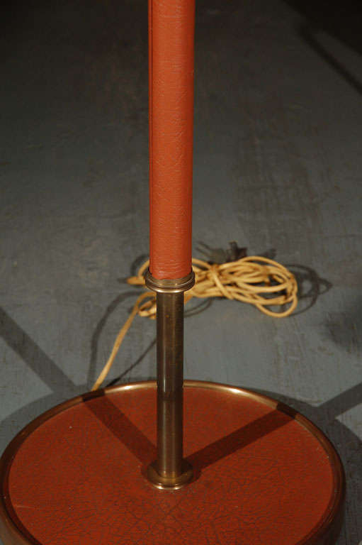 French 1950s Leather Floor Lamp by Jacques Adnet For Sale