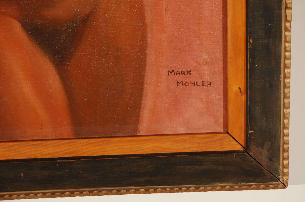 1950s Oil on Canvas Nude Painting by Mark Mohler In Good Condition For Sale In Los Angeles, CA