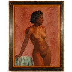 1950s Oil on Canvas Nude Painting by Mark Mohler