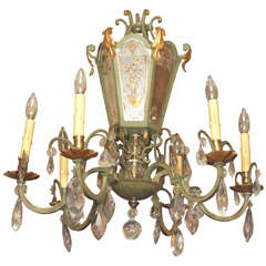 Antique French Crystal and Tole 6-light Chandelier