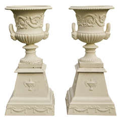 Pair of Neoclassical Cast-Iron Urns