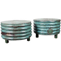 Vintage Ribbed Barrel Low Table