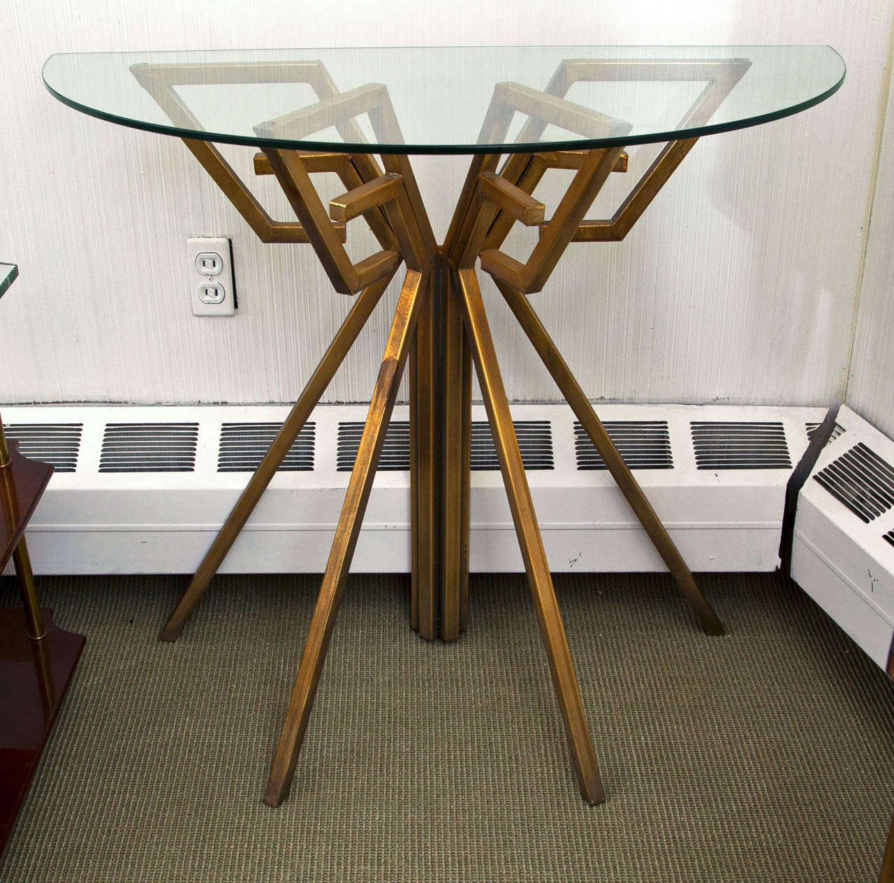 Pair of metal and glass console tables at 1stdibs for Metal and glass console tables