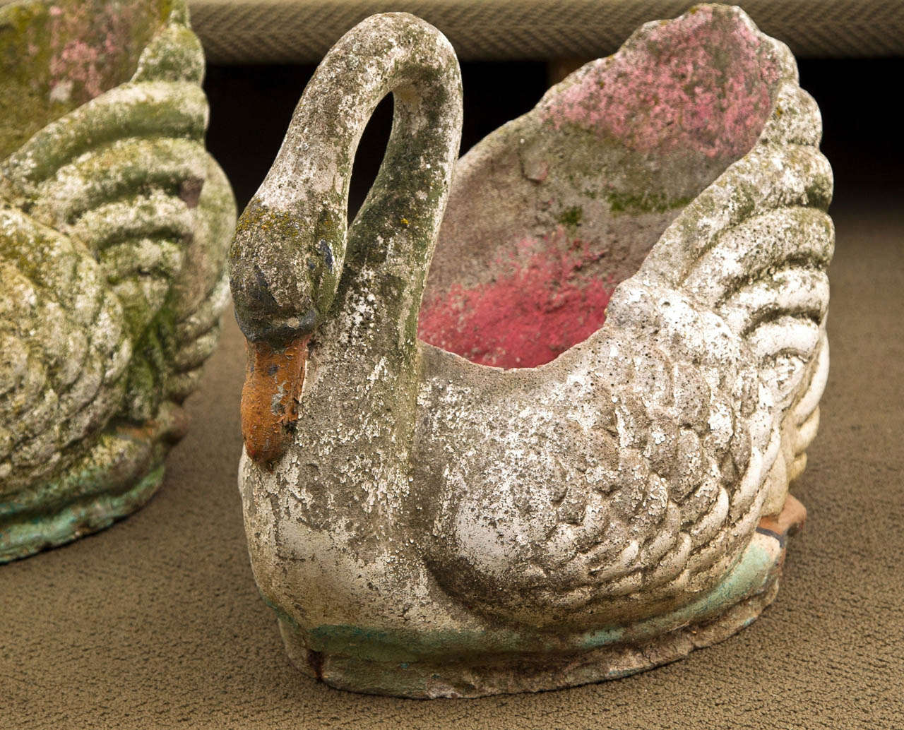 Pair Of Cement Cast Swan Planters At 1stdibs