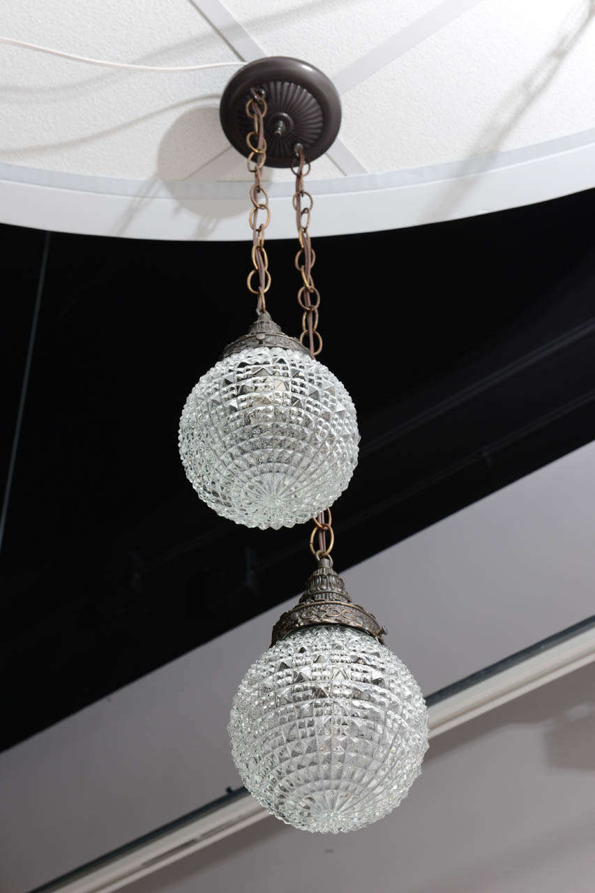 Restored and rewired super elegant also available an other french double pendant same size globes, same measurements, but different globes