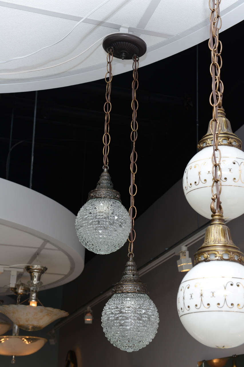 French Provincial Pair of Christal Globes, French Ceiling Fixture, Two Globes from One Fixture For Sale