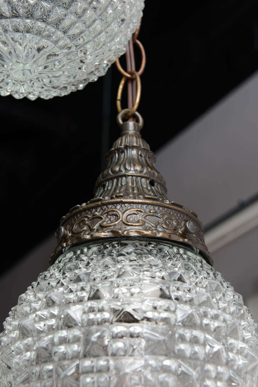 20th Century Pair of Christal Globes, French Ceiling Fixture, Two Globes from One Fixture For Sale
