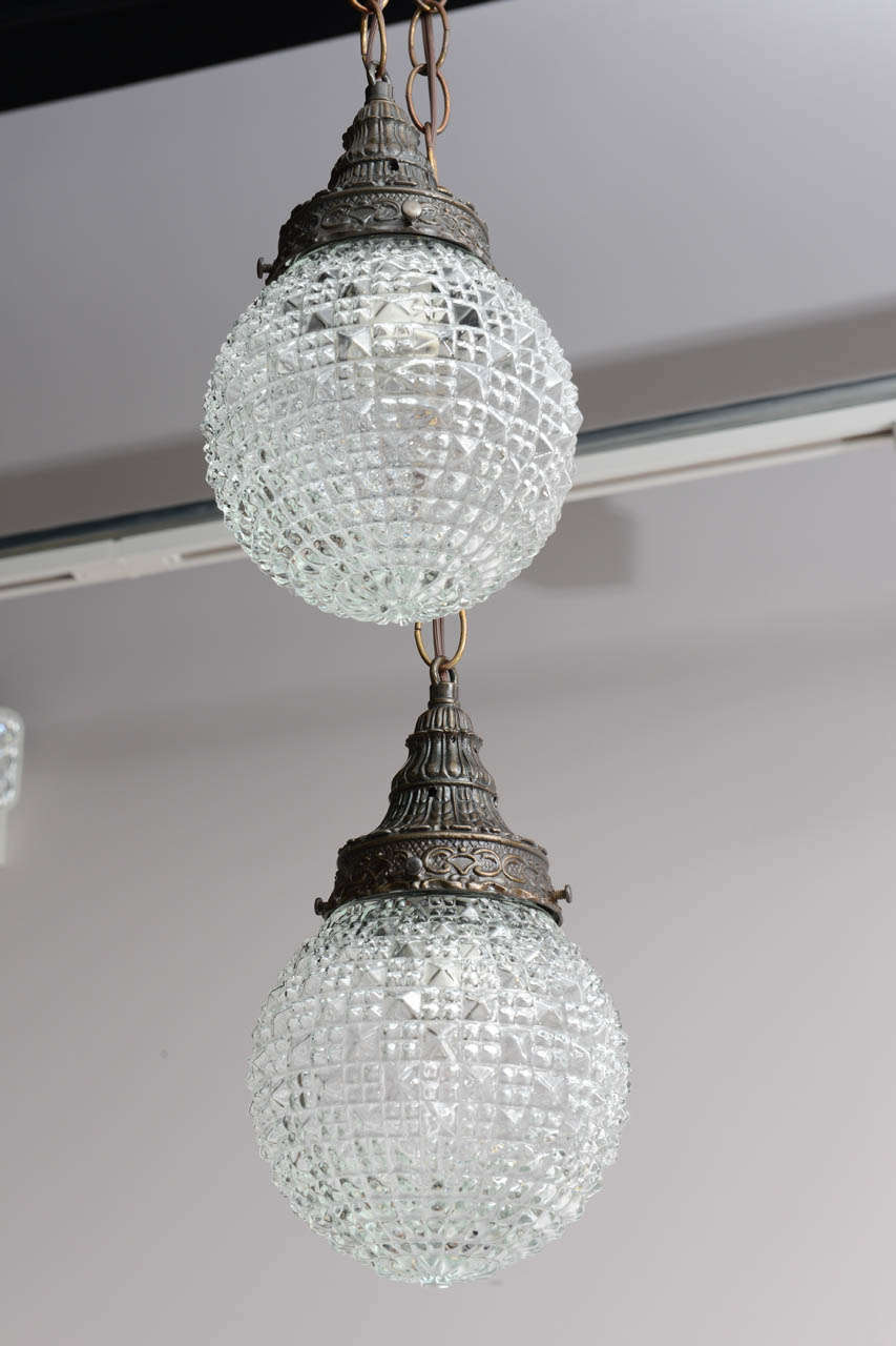 Pair of Christal Globes, French Ceiling Fixture, Two Globes from One Fixture For Sale 3