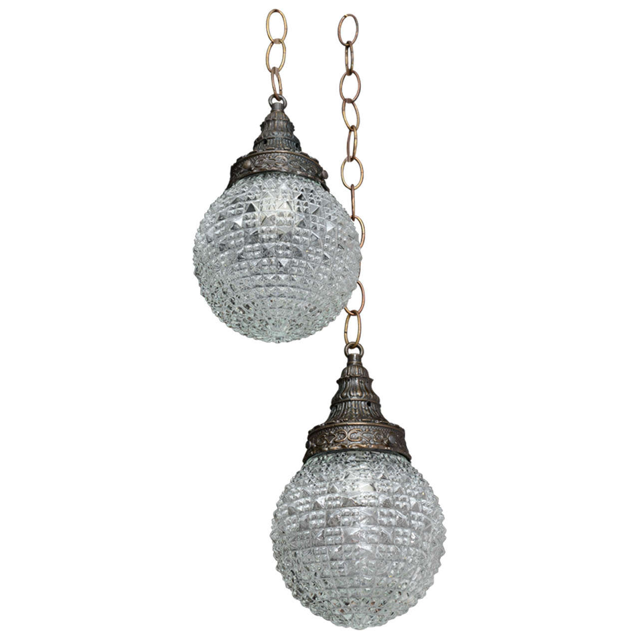 Pair of Christal Globes, French Ceiling Fixture, Two Globes from One Fixture For Sale