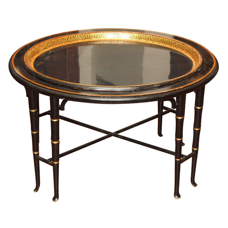 French Tole Tray And Later Stand