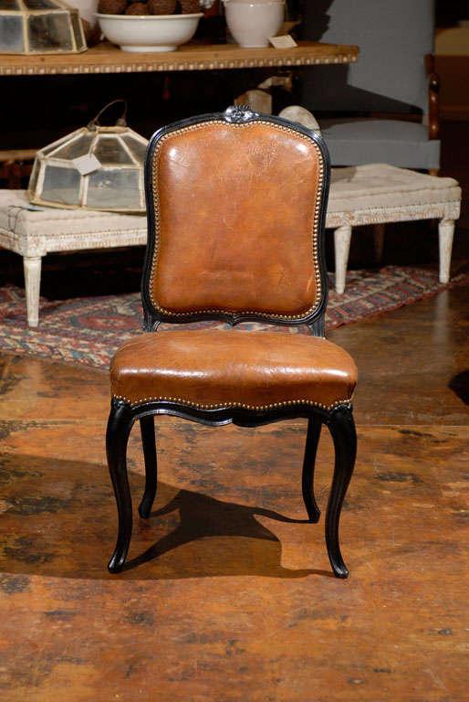French Leather & Ebonized Chairs 6