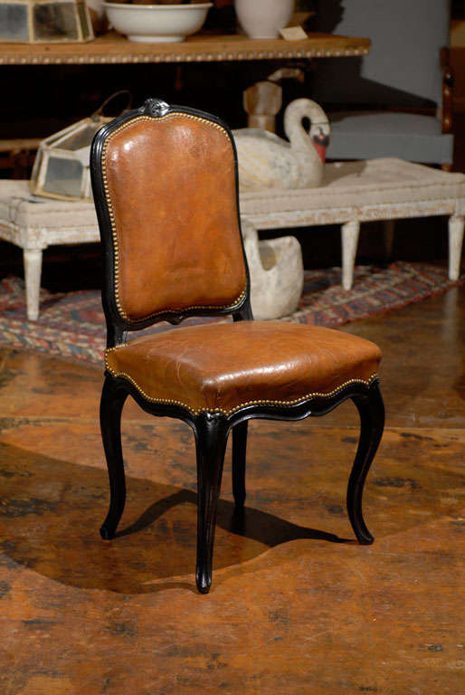 French Leather & Ebonized Chairs In Excellent Condition In Atlanta, GA