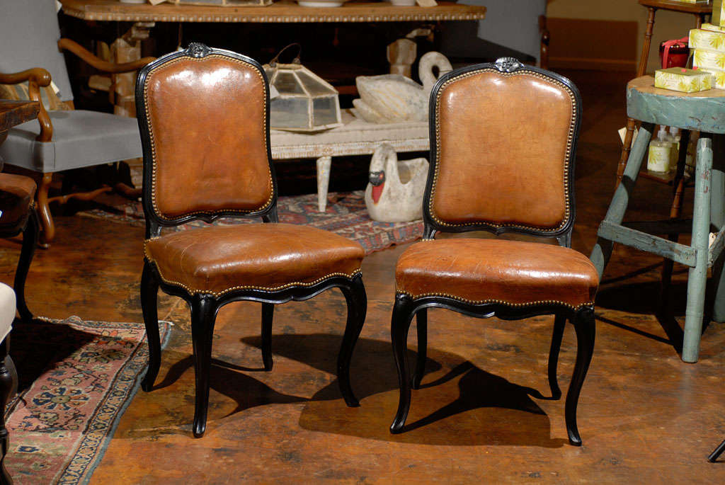 19th Century French Leather & Ebonized Chairs