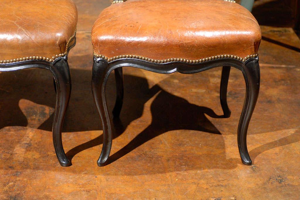 French Leather & Ebonized Chairs 2