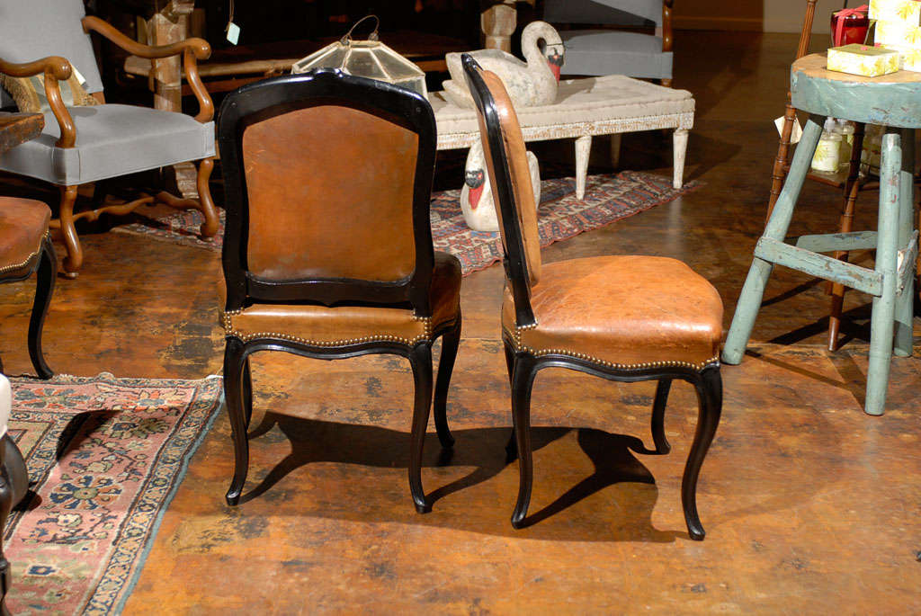 French Leather & Ebonized Chairs 3