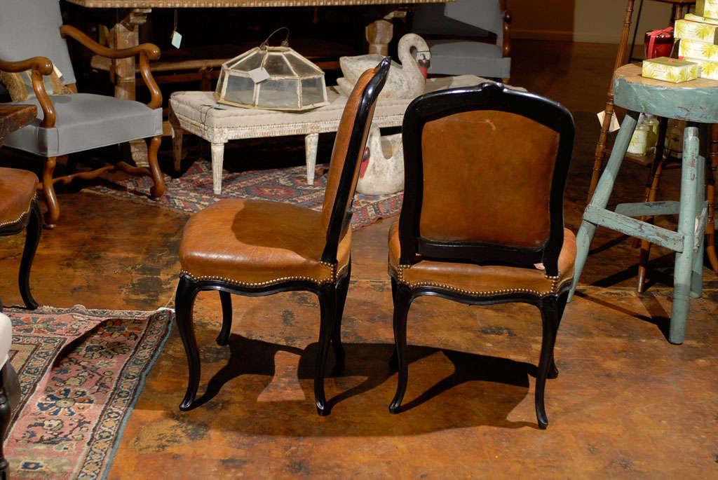 French Leather & Ebonized Chairs 4