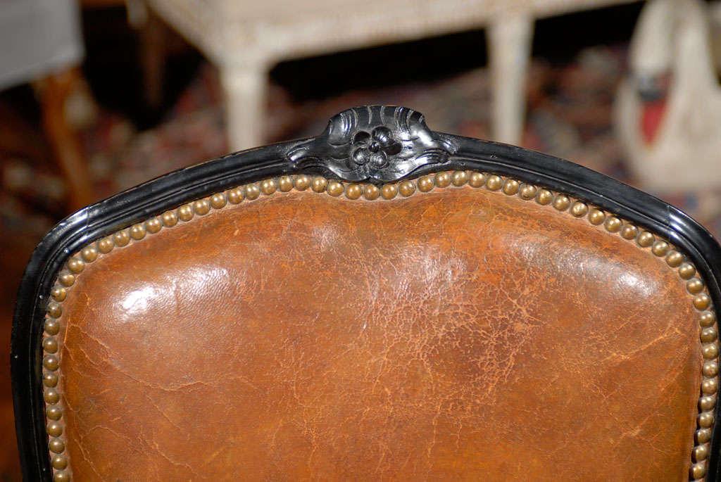 French Leather & Ebonized Chairs 5