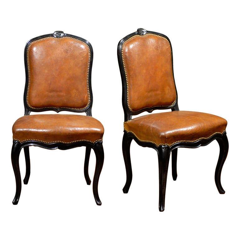 French Leather & Ebonized Chairs