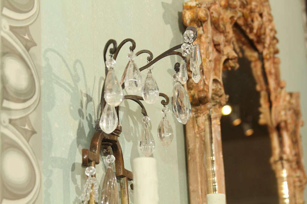 French Rock Crystal Wall Lights at 1stdibs