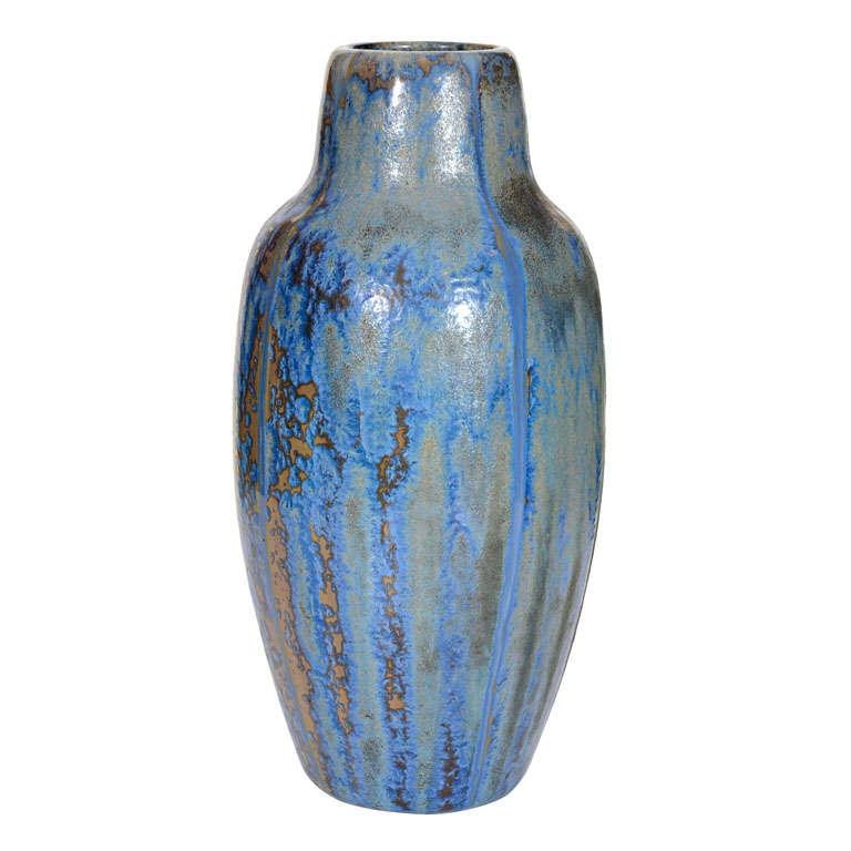 French Art Nouveau Pottery Blue Green Crystalline Glaze Pot Vase