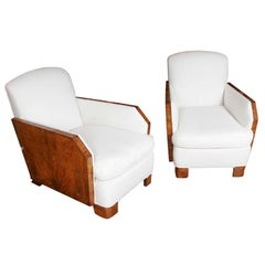 Exquisite Pair of Walnut Wood Armchairs
