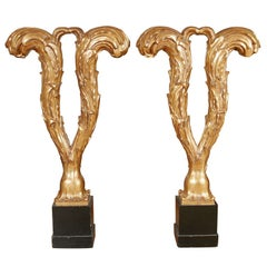 Pair of Carved Console Table Bases by Serge Roche