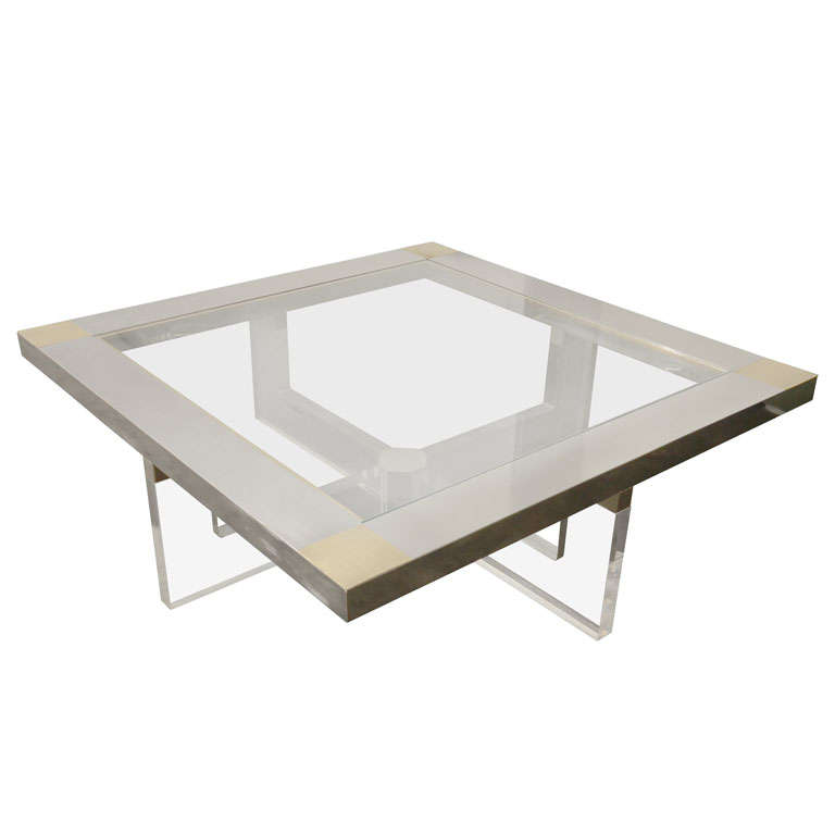 Fantastic large metal glass and lucite coffee table at 1stdibs for Large lucite coffee table