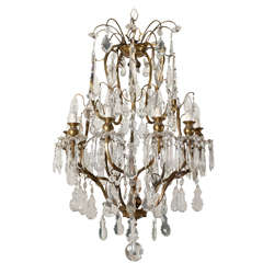 19th Century Louis XV Style Bronze and Crystal Chandelier