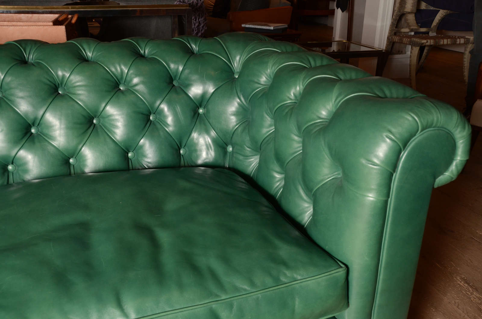 Emerald Green Mid Century Chesterfield Sofa From England For Sale At