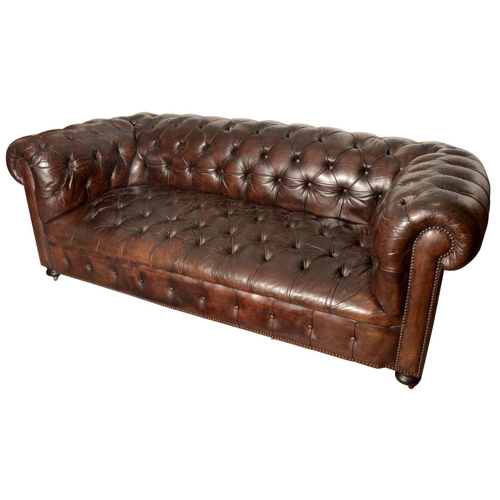 Chesterfield sofa  French Mid-Century Chesterfield Sofa in dark brown For Sale at 1stdibs