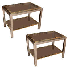 Pair Of Mid-century Chrome And Brass Side Tables