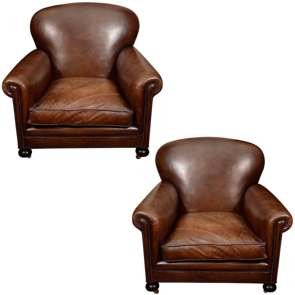 Pair Oversized Leather Club Chairs England Late 19th