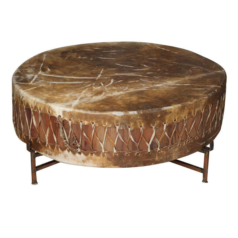 Copper Kettle Drum Coffee Table: Giant Drum Table On Copper Frame At 1stdibs
