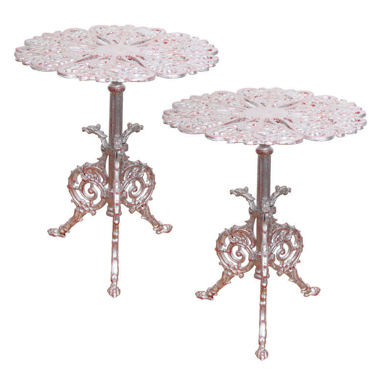 1940s Silver Leaves Wrought Iron Tables